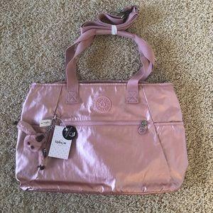 Kipling icy rose metallic lizabeth laptop bag
